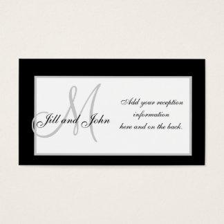 Black and White Monogram Wedding Reception Cards