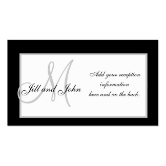 Black and White Monogram Wedding Reception Cards Business Card Templates