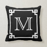 "Black And White Monogram White Greek Key Throw Pillow<br><div class=""desc"">Black And White White Monogram White Greek Key Pillow.</div>"