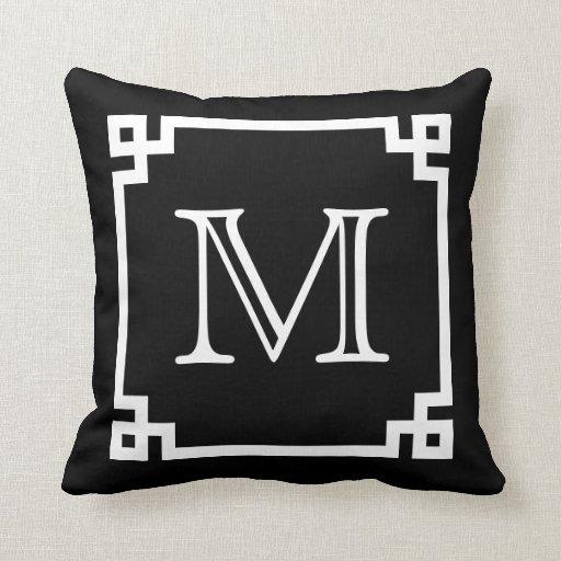 Black And White Monogram White Greek Key Throw Pillow