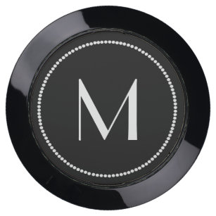 Black and White Monogrammed Charging Hub