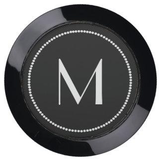 Black and White Monogrammed Charging Hub