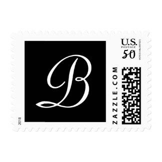 Black and White Monogrammed Custom Postage Stamp