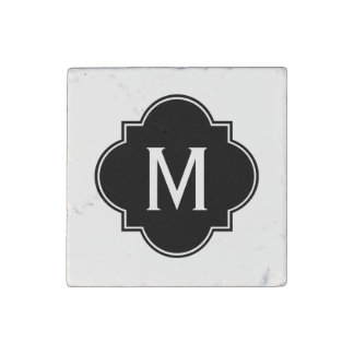 Black and White   Monogrammed Stone Magnet