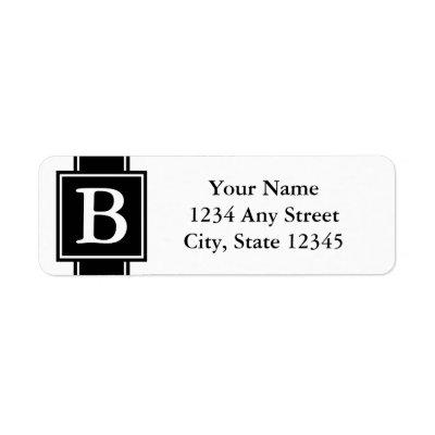 black white monogrammed return address label zazzle com