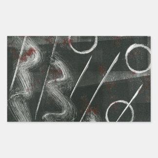 Black And White Monoprint Abstract Rectangular Sticker