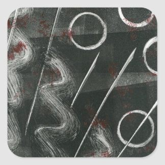 Black And White Monoprint Abstract Square Sticker