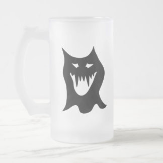 Black and White Monster. Frosted Glass Beer Mug