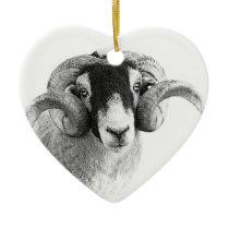 Black and white moorland sheep ceramic ornament