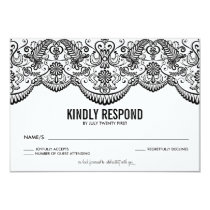 Black and White Moroccan Lace Pattern RSVP Card