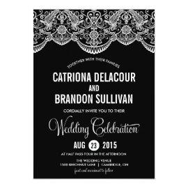 Black and White Moroccan Lace Wedding Invitation