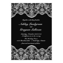 Black and White Moroccan Lace Wedding Invitation