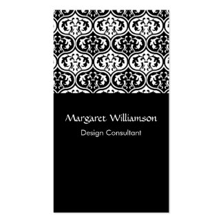 Black and White Moroccan Leaf Pattern Professional Business Card