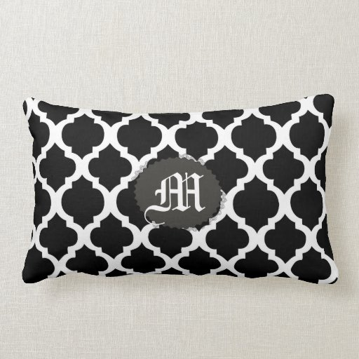 black and white moroccan lumbar throw pillow zazzle. Black Bedroom Furniture Sets. Home Design Ideas