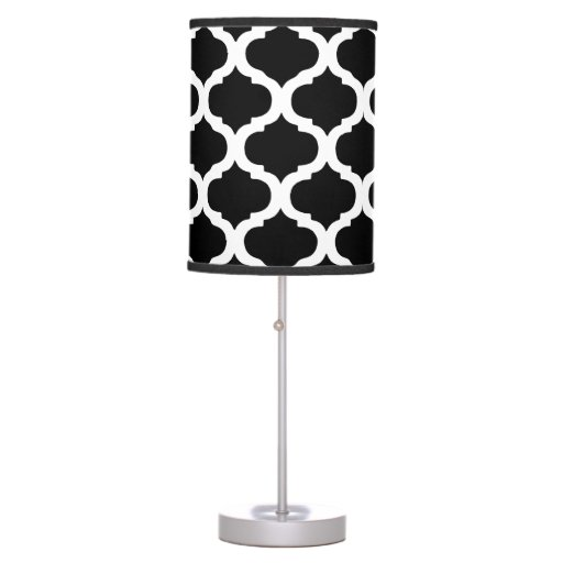 black and white moroccan pattern table lamp zazzle. Black Bedroom Furniture Sets. Home Design Ideas