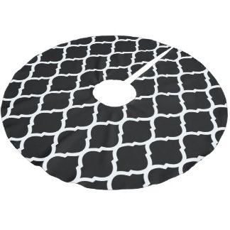 Black and White Moroccan Quatrefoil Brushed Polyester Tree Skirt