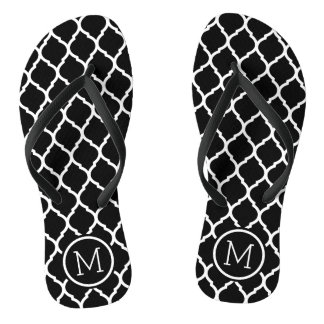 Black and White Moroccan Quatrefoil Monogram Flip Flops
