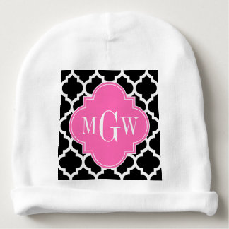 Black and White Moroccan Quatrefoil Trellis Patter Baby Beanie