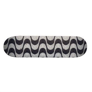 Black and white mosaic wave skateboard