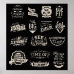 Black and White Motivational Badges Poster
