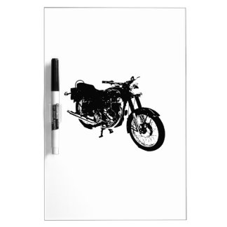 Black and White Motorcycle Drawing Dry-Erase Board