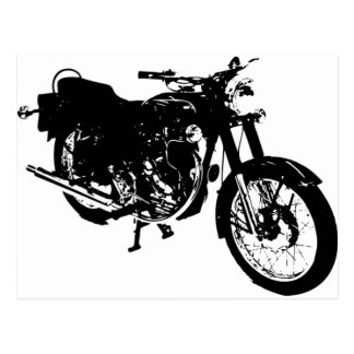 Black and White Motorcycle Drawing Postcard