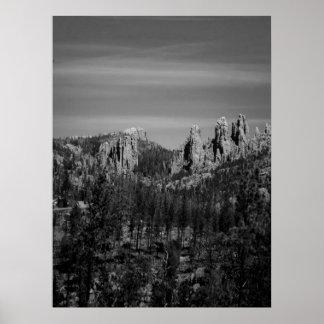 Black and white mountain scene poster
