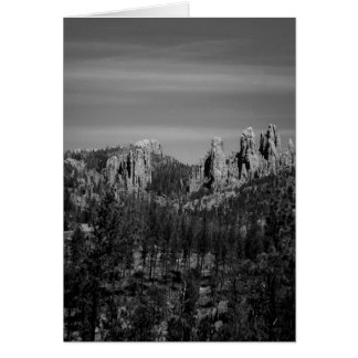 Black and white mountain scene poster card