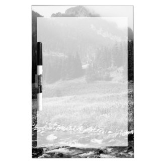 Black and White Mountain Valley and River Dry-Erase Board
