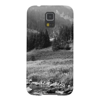 Black and White Mountain Valley and River Galaxy S5 Covers