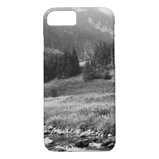Black and White Mountain Valley and River iPhone 7 Case