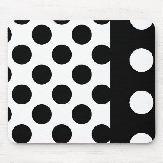 Black And White Mousepad::Polka Dots Mouse Pad