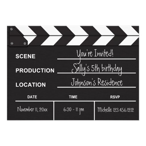 Personalized Hollywood theme Invitations – Hollywood Themed Birthday Invitations