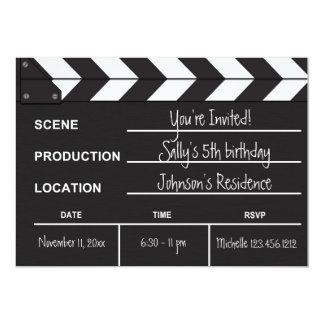 Black and White Movie Clapboard Birthday Invites