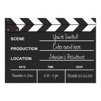 "Black and White Movie Clapboard ""blank"" invites"