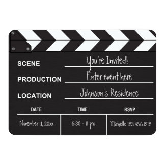 """Black and White Movie Clapboard """"blank"""" invites"""