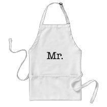 Black and White Mr. Wedding Anniversary Quote Adult Apron