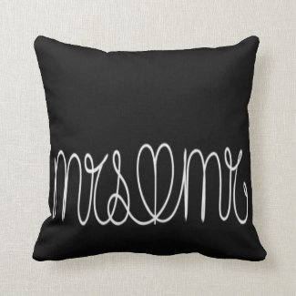 Black and White Mrs and Mr Couple Pillow