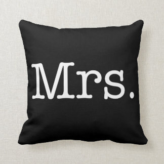 Black and White Mrs. Wedding Anniversary Quote Throw Pillows
