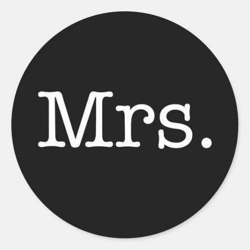 Black and White Mrs. Wedding Anniversary Quote Sticker