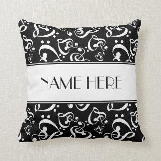 Black and White Music Hearts Custom Throw Pillow