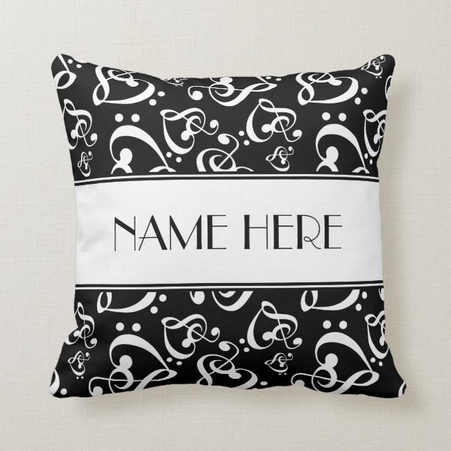 Black and White Music Hearts Custom Throw Pillow