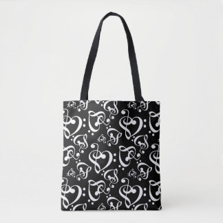 Black And White Music Hearts Pattern Tote Bag