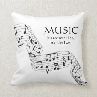 Black and White Music It's Who I Am Note Pillow