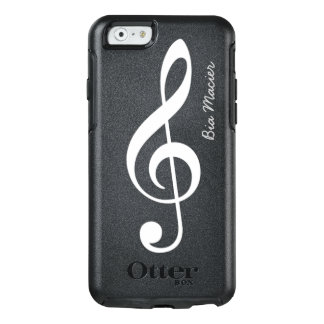 black and white music note with name OtterBox iPhone 6/6s case