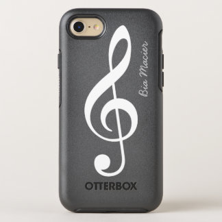 black and white music note with name OtterBox symmetry iPhone 8/7 case