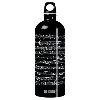 Black and white music notes aluminum water bottle