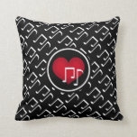 Black and white music notes and red heart pillow