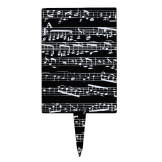 Black and white music notes rectangle cake topper