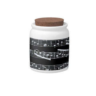 Black and white music notes candy jar
